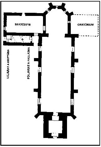 A templom rekonstruált alaprajza. (19. sz. közepe)